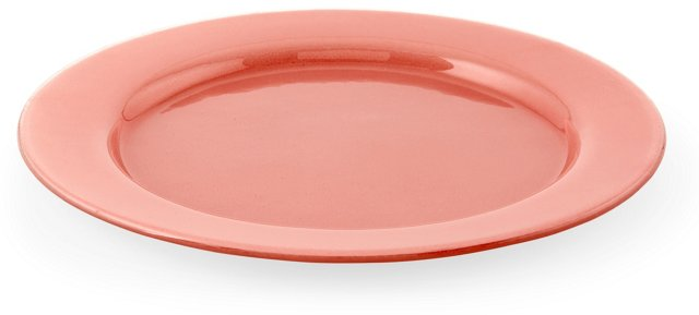 """S/4 Pink Rimmed Plates, 9"""""""