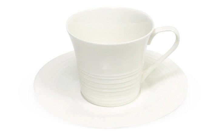 S/4 Cirque Cups & Saucers, White