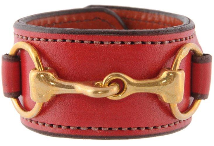 Brass Bit Leather Cuff, Red