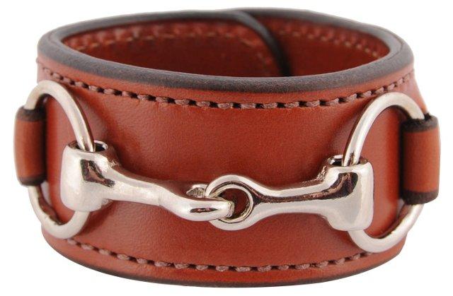 Nickel Bit Leather Cuff, Chestnut