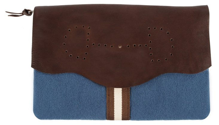 Leather/Wool Lucy Clutch, Cerulean
