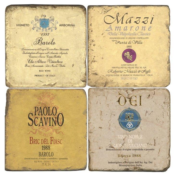 Marble Coasters, Italian Wine