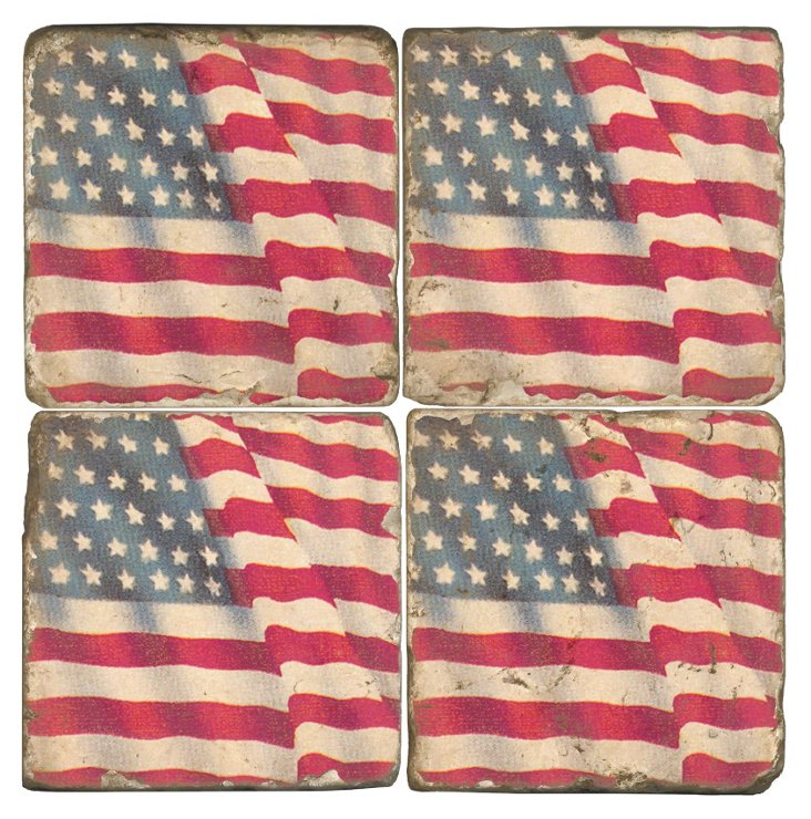 S/4 Marble Coasters, American Flag