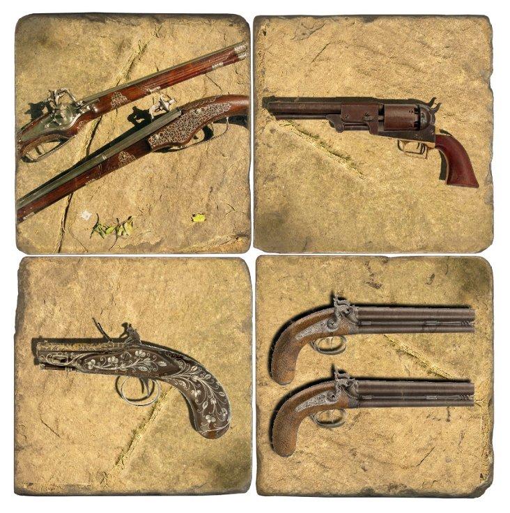 Marble Coasters, Antique Pistols