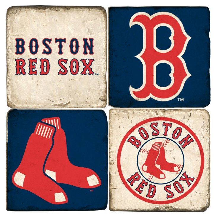 S/4 Boston Red Sox Marble Coaster