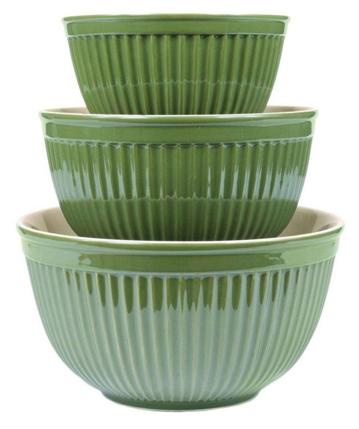 3-Pc  Mixing Bowl Set, Olive