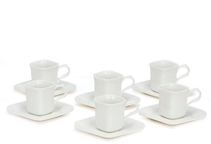 S/6 Coffee Mugs w/ Saucers, White