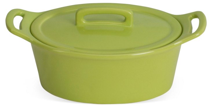 Small Oval Baker w/ Lid, Citron
