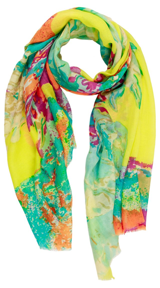 Abstract Flower Scarf, Lime/Turquoise