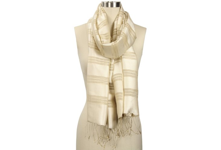 Silk Striped Scarf, White