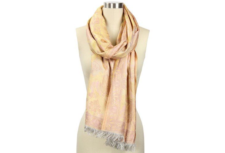 Silk Floral Edged Scarf, Pink/Yellow