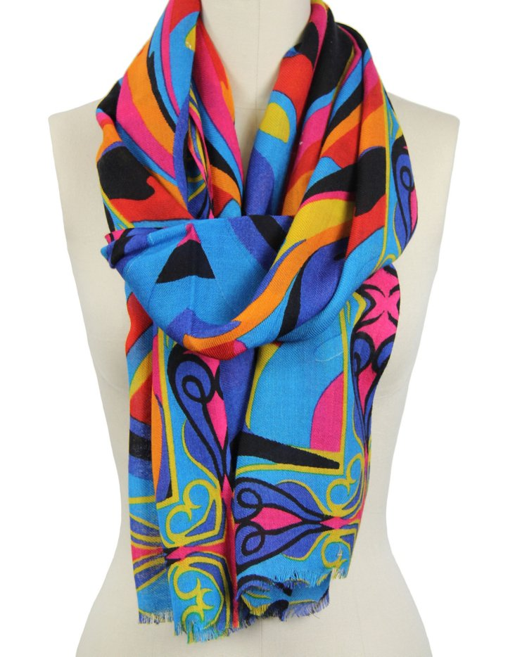 Waves Scarf, Turquoise/Multi
