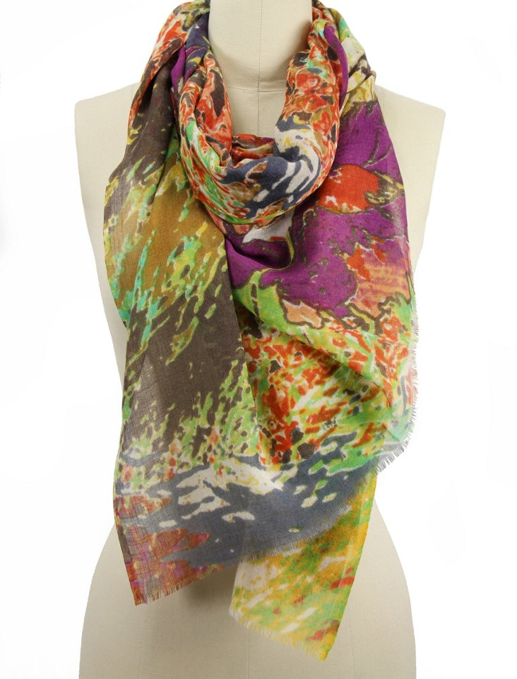 Abstract Print Scarf, Bright Multi