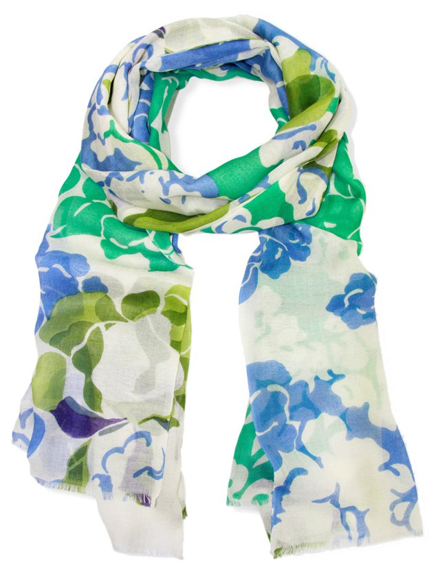 Stenciled Floral Scarf, Ivory/Blue