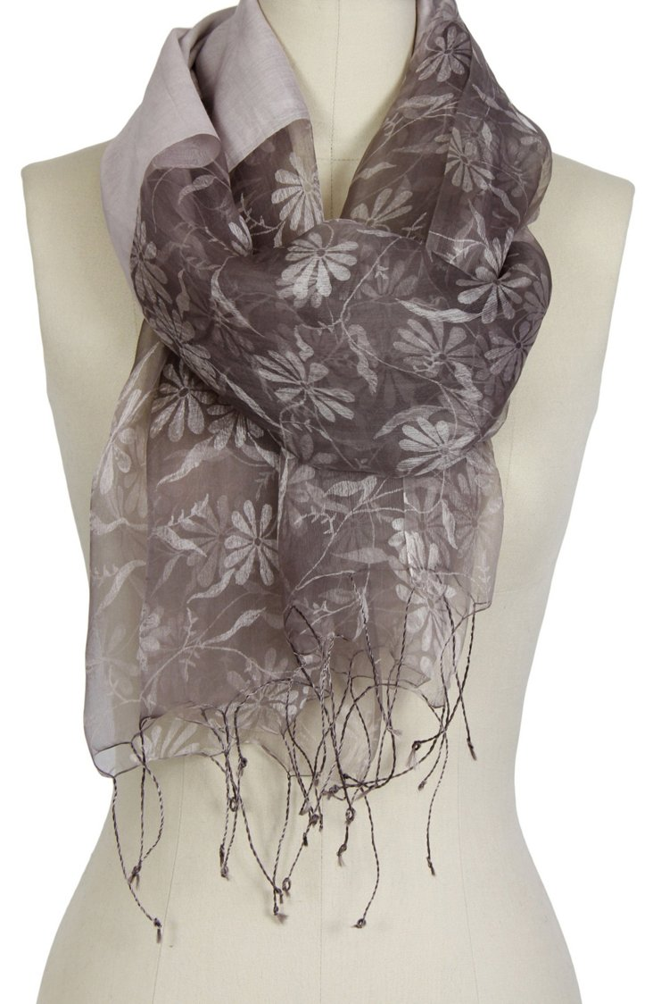 Floral Silk Scarf, Taupe