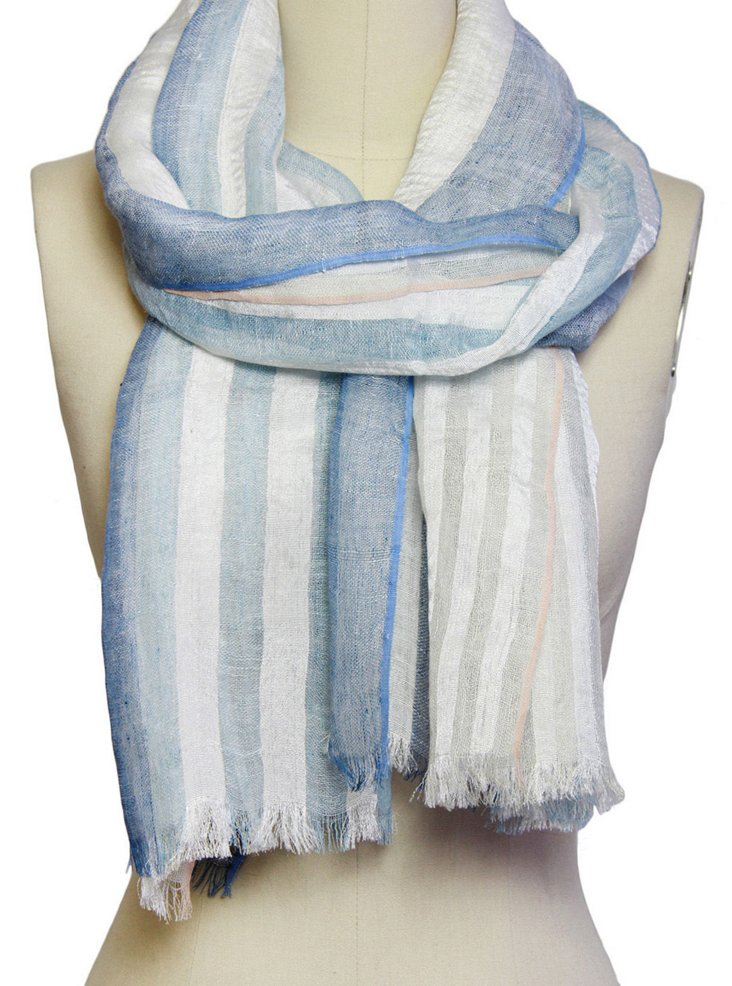 Striped Silk/Linen Scarf, Blue