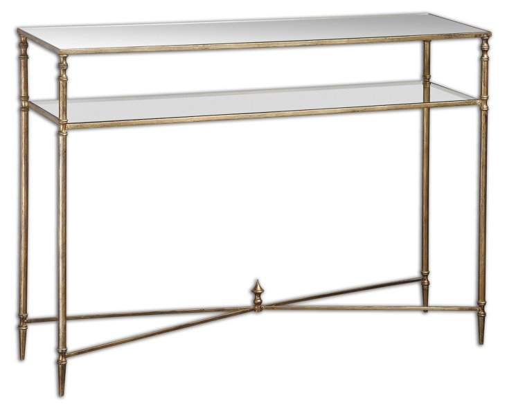 "Heartley 45"" Console, Gold"