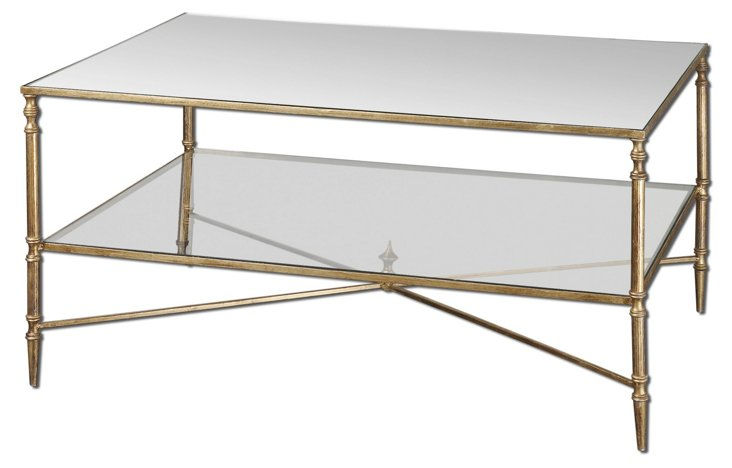 Abigail Glass-Shelf Coffee Table, Gold
