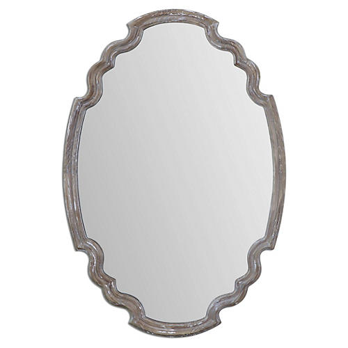 Napoleon Wall Mirror, Aged Wood