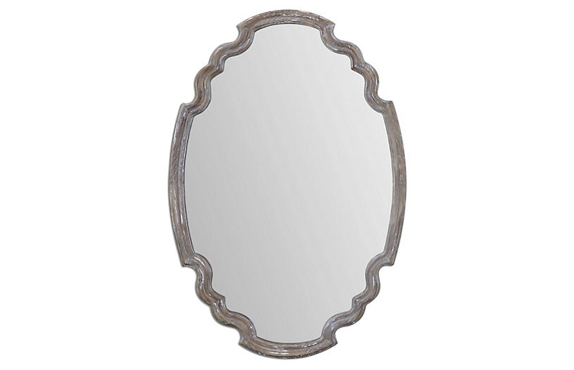 Napoleon Wall Mirror, Aged Wood