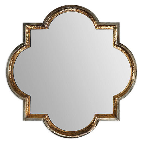 Quatrefoil Wall Mirror, Gold Leaf