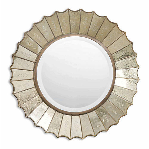 Brooke Wall Mirror, Antiqued Gold Leaf