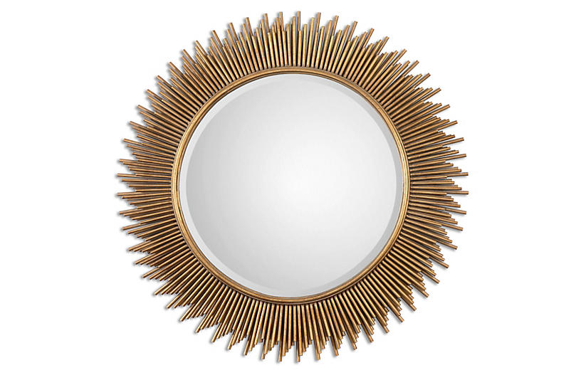 Eula Wall Mirror, Gold Leaf