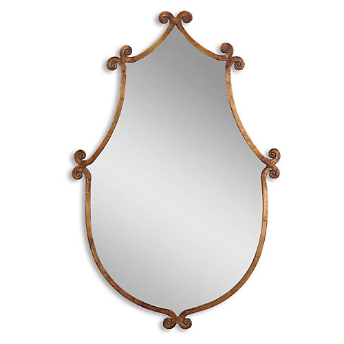 Mara Mio Wall Mirror, Antiqued Gold