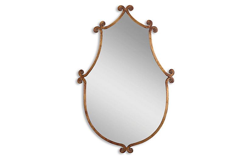 Mara Mio Wall Mirror, Antiqued Gold