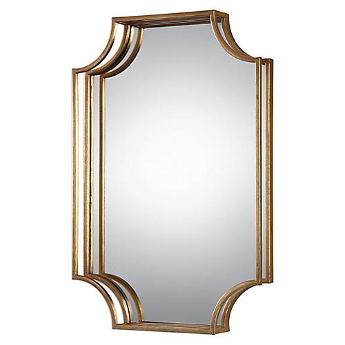 Elise Wall Mirror, Antiqued Gold Leaf