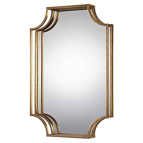 Elise Wall Mirror, Antiqued Gold Leaf
