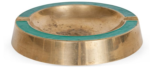 Brass & Teal Ashtray