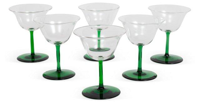 Green-Stemmed Cordial Glasses, Set of 6