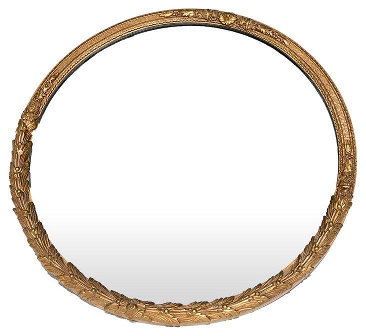 Round Carved Mirror
