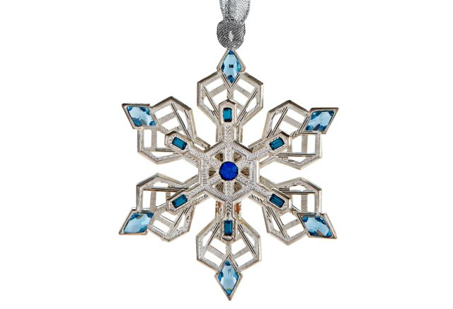 Diamond Snowflake Ornament, Blue