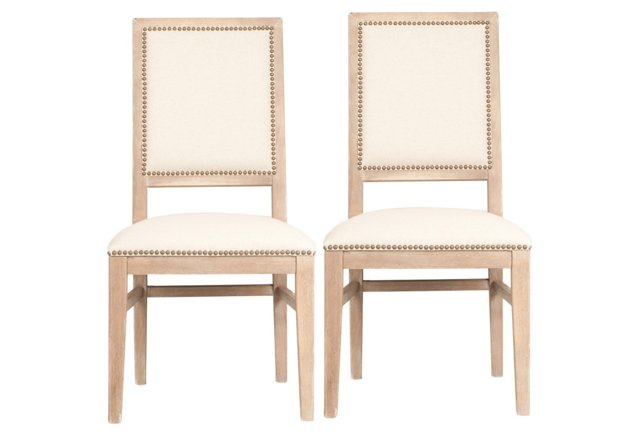 Clemmie Stonewashed Dining Chairs, Pair