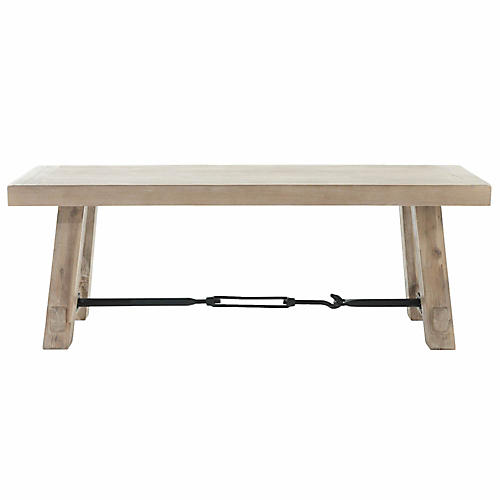 "Cara 50"" Industrial Dining Bench, Stone"