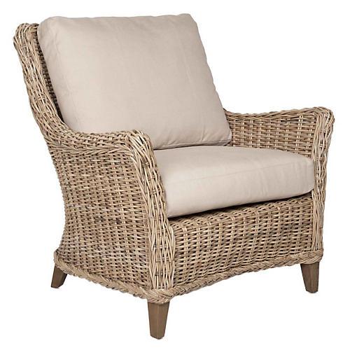 Meredith Rattan Club Chair, Beige