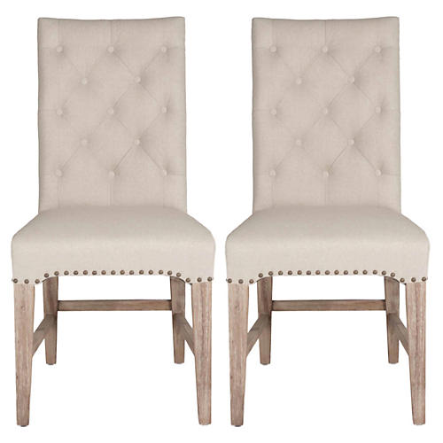 S/2 Louis Tufted Side Chairs, Flax
