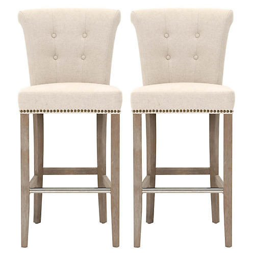 S/2 Luxe Barstools, Jute