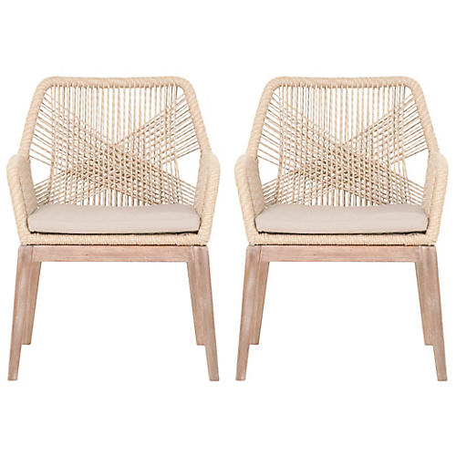 S/2 Easton Armchairs, Sand