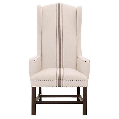 Benson Wingback Chair, Beige/Gray