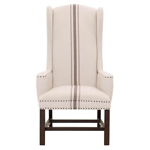 Benson Wingback Chair, Beige/Gray