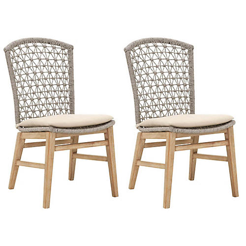 S/2 Wallace Side Chairs, Beige Linen