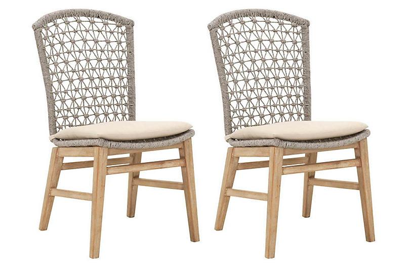 S/2 Wallace Side Chairs, Beige Linen