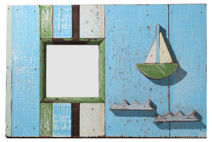 Sailboat & Waves Frame, 4x4, Blue/Green