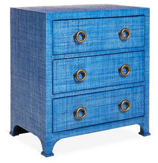 Attractive Kos 3-Drawer Raffia Nightstand, Indigo - One Kings Lane - Brands  QG09