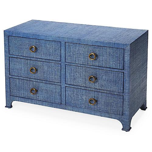 Kos 6-Drawer Raffia Dresser, Indigo