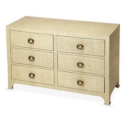 Kos 6-Drawer Raffia Dresser, Cream