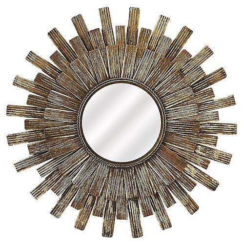 Lone Sunburst Wall Mirror, Antiqued Gold